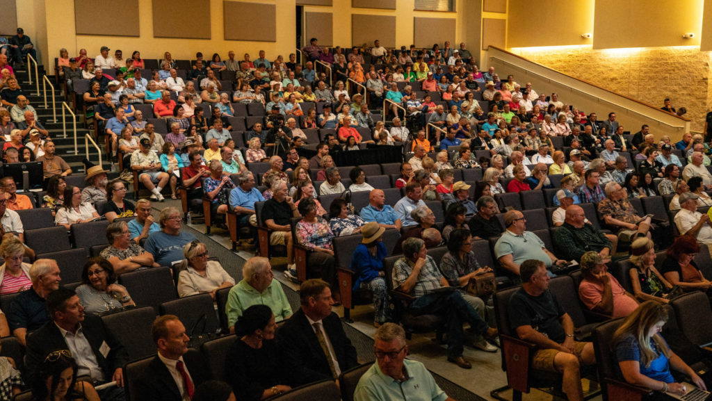About 600 guests were in attendance, many of whom stayed for the business meeting.